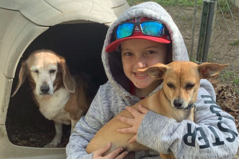 Ayden with Dogs